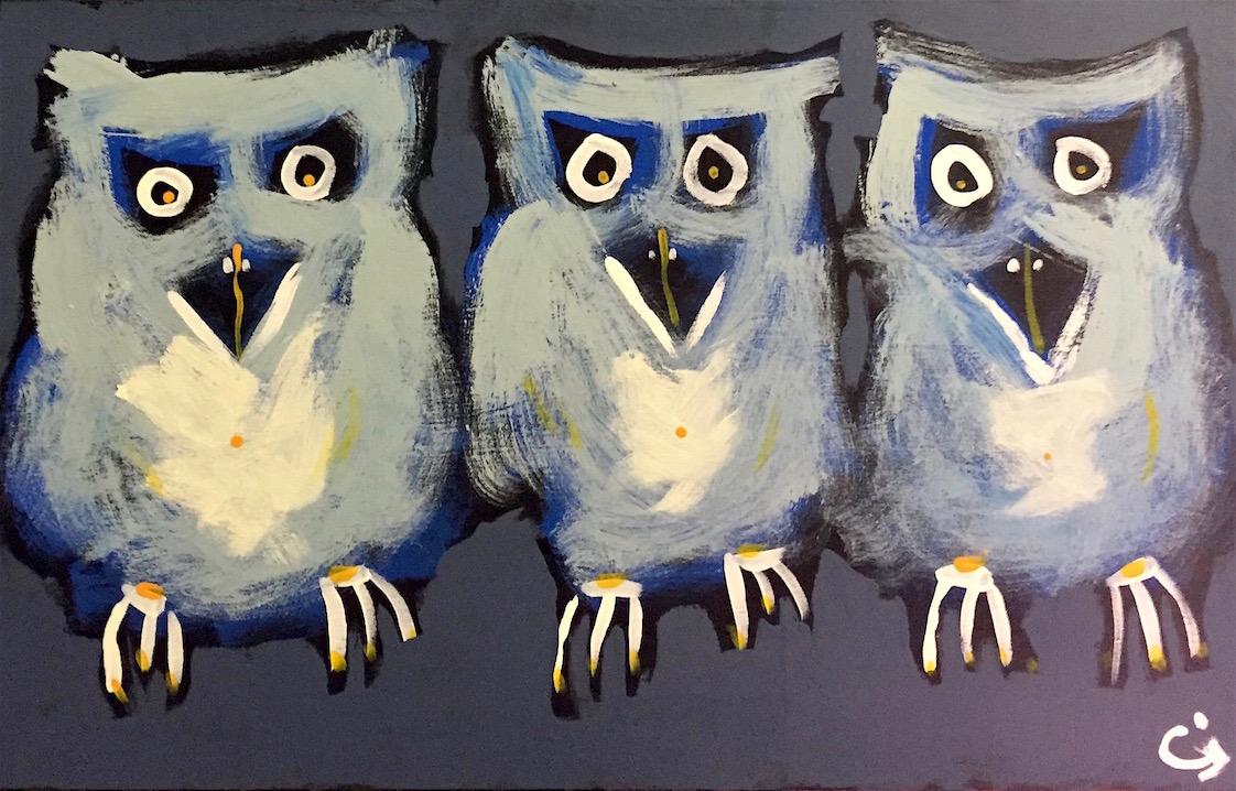 Owls, acrylic on board