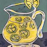 Bulbous Lemonade Pitcher. acrylic on board