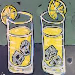 Two Lemonade Glasses with Lemons. acrylic on board