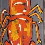 Lobster Monster, acrylic on board
