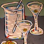 Martini Set, acrylic on board