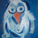 Blue Bird, acrylic on board