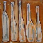 5 Bottles, acrylic on board