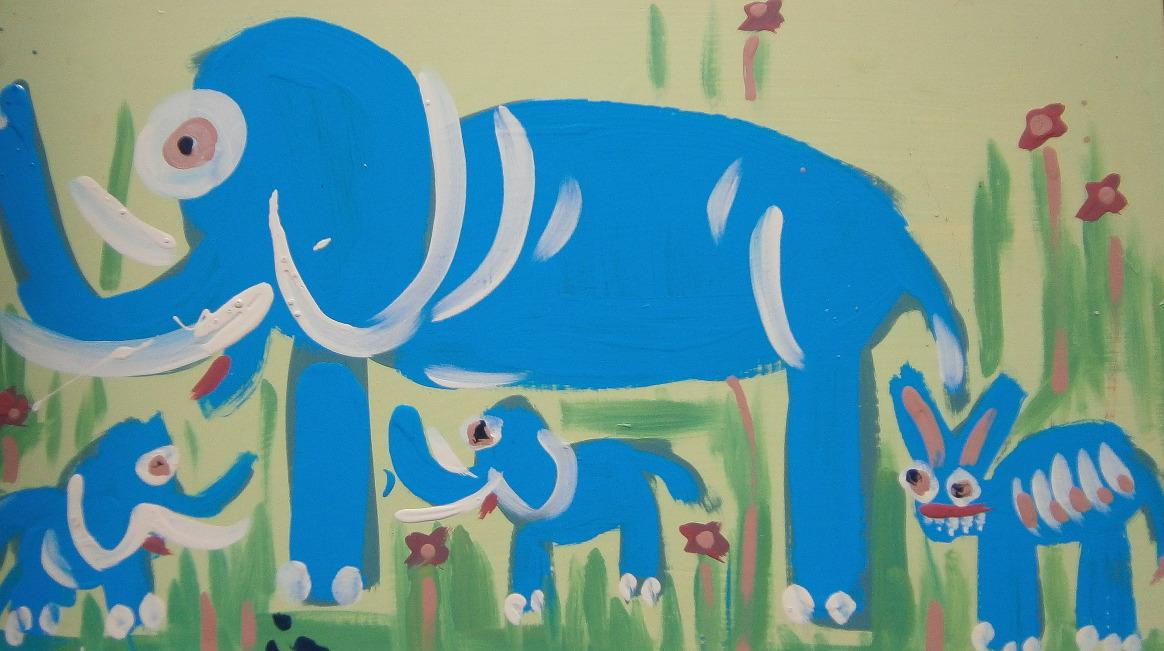 Elephants and Creature, acrylic on board