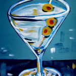 3 Olive Martini, acrylic on board