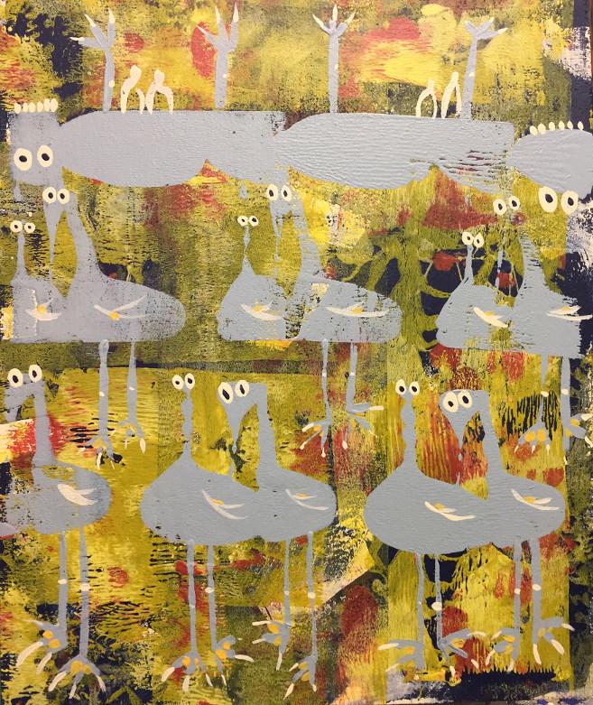 Flock of Herons, acrylic on board