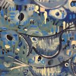 Screaming Blue Birds, acrylic on board